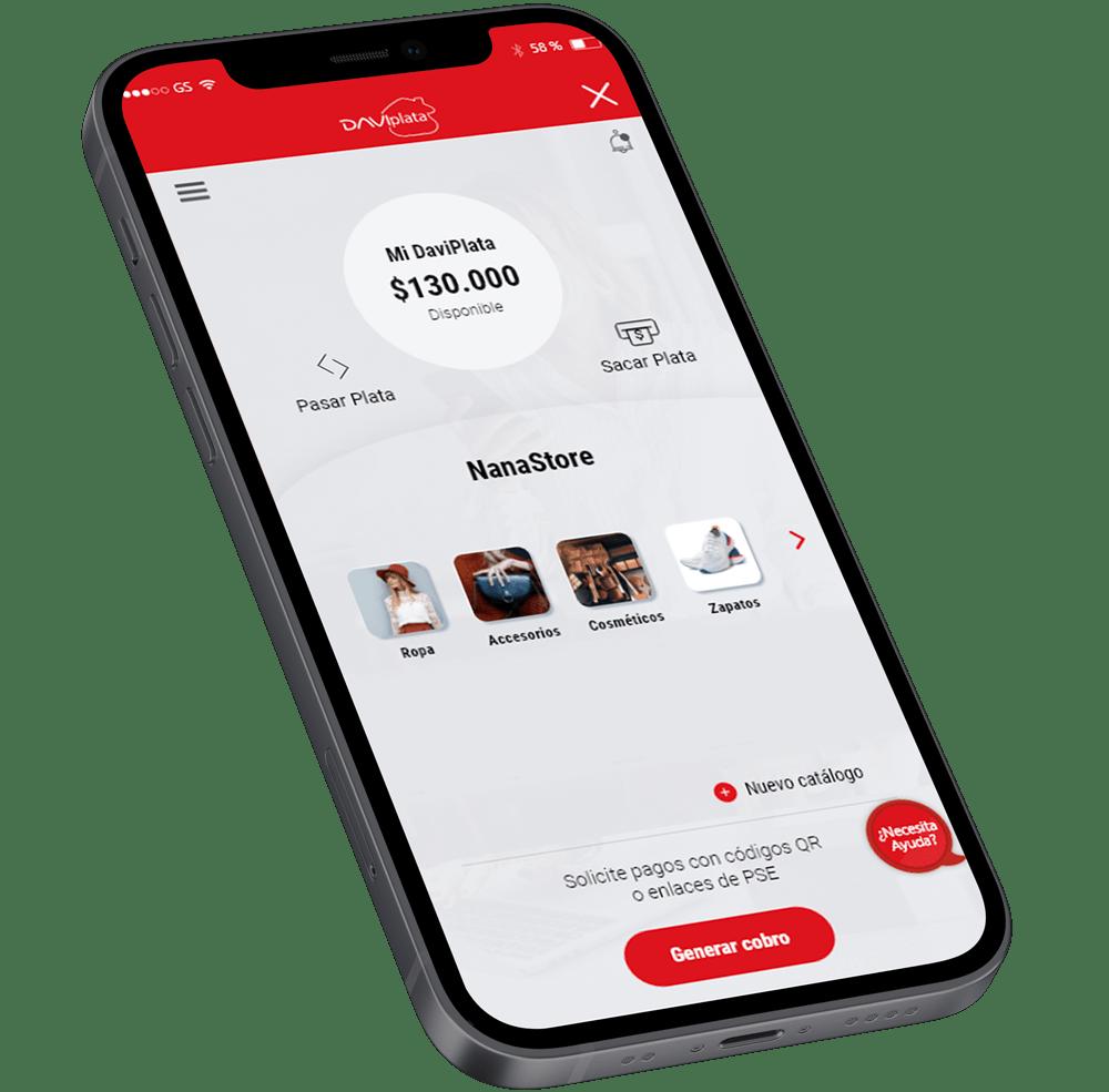 Pantalla del App DaviPlata Negocio Virtual